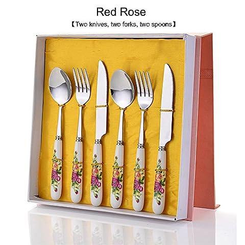 Yookoon exquis Set de couverts en acier inoxydable Porcelaine couteau fourchette cuillère Ensemble de couverts 6pcs Rose rouge