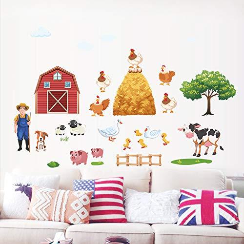 Cartoon Farm Animals Wandaufkleber Ente Schwein Henne Kühe Baum Dorf Wandtattoos Für Kinderzimmer Wohnkultur Pvc Poster Diy Wandbild Kunst