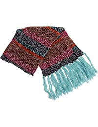 Womens/Ladies Striped Large Knitted Winter Scarf With Tassles