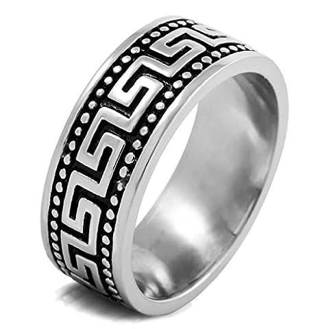 Aooaz Edelstahl Ringe für Herren mit Gratis Gravur Silber Schwarz Ringe Punk Vintage Ringe Größe 65 (Prinzessin Set Manschettenknöpfe)