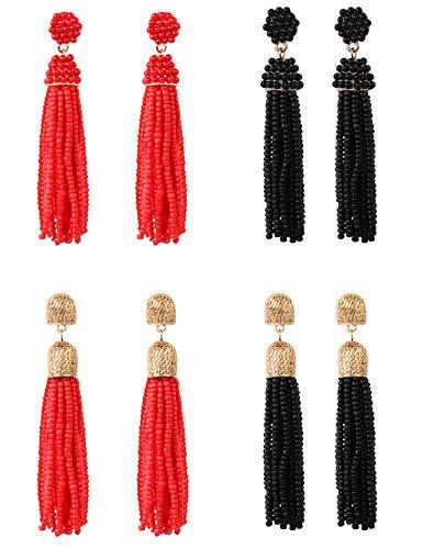 Sailimue 4 Pairs Lange Quasten Ohrringe mit Schwarzen rot Perlen für Damen Mädchen Boho Ethno Fransen Ohrringe Schmuck