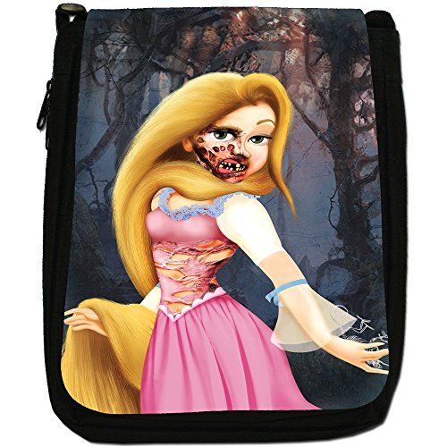 Zombie Princess Favola Happy Ever After Media Nero Borsa In Tela, taglia M Long Hair Blonde In Forest