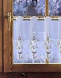 Bestickte Scheibengardine WINTERLANDSCHAFT 35cm / 55cm hoch Plauener Spitze, Weihnachtsgardine, Weihnachtsdeko