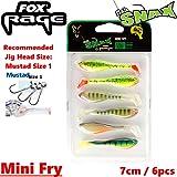 Fox Rage Mini Fry Mixed Colour Pack 7cm - 6 Gummifische zum Barschangeln, Gummiköder für Barsche & Forellen, Gummishads, Shads