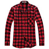 OCHENTA - Camicia Casual - Maniche Lunghe - A Quadri Flanella - Uomo N056 Red Black Asian 4XL - Italiana 2XL