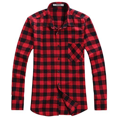 Ochenta - camicia casual - maniche lunghe - a quadri flanella - uomo n056 red black asian 4xl - italiana 2xl