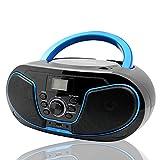 LONPOO Lecteur CD Radio FM Portable Boombox, Lecteur MP3 / CD Bluetooth, avec entrée auxiliaire, USB et Prise Casque