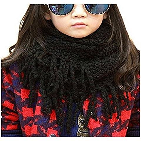 Unisex Bambini Inverno Caldo Spessore morbida Crochet del Knit lana lungo nappe sciarpa lunga scialle per bambini e adulti, Black