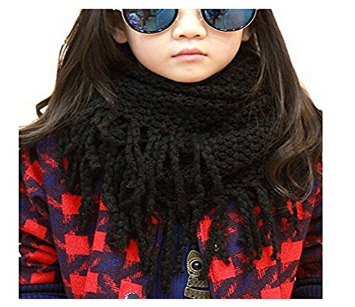 Unisex Baby Winter warm dick Crochet Knit Wolle langen Quasten weiche lange Schal Schals für Kinder und Erwachsene, schwarz (Square Neck Sheer)