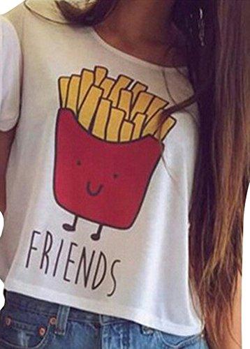 Damen Kurzarm T-Shirts Best Friends Tee für Mädchen mit Aufdruck Burger und Pommes Lustige Passende Kostüm B Friends DE - Kostüm Für Zwei Freunde Mädchen