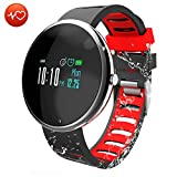 CatShin Fitness Tracker Smartwatch-Fitnessuhr CS06 Fitness Armband IP67 Wasserdicht Armband Sport Activity Tracker für Damen Schrittzähler Blutdruck Pulsmesser Kalorienzähler-Android/IOS (Schwarz)