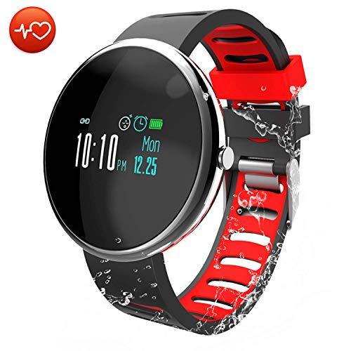 CatShin Fitness Tracker Smartwatch-Fitnessuhr CS06 Fitness Armband IP67 Wasserdicht Armband Sport Activity Tracker für Damen Schrittzähler Blutdruck Pulsmesser Kalorienzähler-Android/IOS (Schwarz)