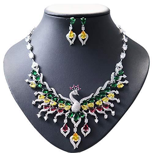 Ethnische Pfau Thema Exotische Emaille Bunte Zirkon Brautschmuck Halskette Sets Für Frauen,A
