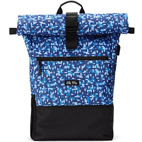 Ela Mo\'s Rucksack Damen | Schön und Durchdacht | für Uni Reisen Freizeit Job | mit Laptopfach & Anti Diebstahl Tasche | Blau