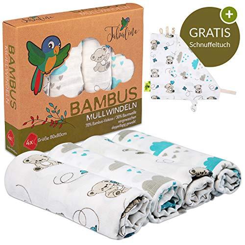 Tabalino ▪ Traumhaft Weiche Bambus Mullwindeln Spucktücher für dein Baby ▪ 80x80cm ▪ 4er-Pack mit Schmusetuch ▪ Mulltücher Junge ▪ blau hellblau ▪ Stoffwindeln aus Musselin ▪ Moltontücher Baumwolle