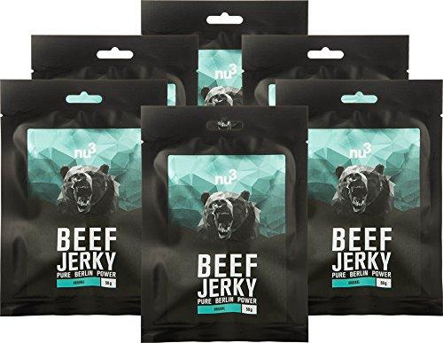 nu3 Beef Jerky Original | BBQ Taste 6x 50g | Low Carb (4{2e9e564364c1aa699cdb40e5c78cd65120533ab7ba9c675bbd61fa21beac343e}), Low Fat (3,7{2e9e564364c1aa699cdb40e5c78cd65120533ab7ba9c675bbd61fa21beac343e}) | satte 51{2e9e564364c1aa699cdb40e5c78cd65120533ab7ba9c675bbd61fa21beac343e} Rind Protein | Trockenfleisch/Dörrfleisch im BQQ-Style gewürzt mit Zwiebeln, Senf und Honig