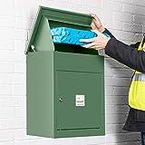 Homescapes Paketbriefkasten aus verzinktem Stahl mit Barcodescannung & Rückholsperre, Smart Parcel Box Medium, Grün, 44 x 35 x 58cm