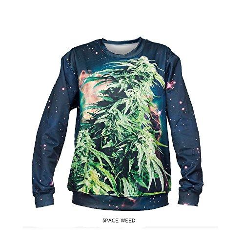 Unisex casual weitem Halsausschnitt, Hip Hop Jogger Punk Lange Ärmel Pullover Sweatshirt space weed (Erwachsene Mens Lightweight T-shirt)