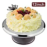 Uten Cake Turntable 12 Inch Aluminium Cake Decorating Display Stand Revolving Cake Stand With Non-Slip Rubber Bottom Nice Baking Tools