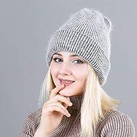 HAOLIEQUAN Angora-Mützen Winterfrauen Stricken Angola-Hut-Kappen-Frauen-Winter-Warmer Beanie-Hut Draußen Sport