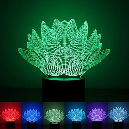 Sproud Blanc Crack 7 Couleur Touch Lotus Led Illusion Lampe / 3D Veilleuse/Usb Actionné Acrylique Lampe De Table/Décoration De La Maison Enfants Bébé Sommeil Cadeau