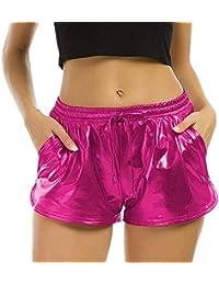 e316d74aa613 TWIFER Damen Hohe Taille Yoga Sport Shorts 2018 Sommer Kurz Hosen Shiny  Hotpants Metallic Leggings