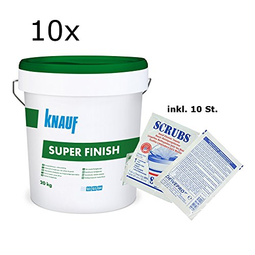 10x Knauf Super Finish - Allzweckspachtelmasse - im Set inkl. 10 St. Original DEWEPRO® Single Scrubs