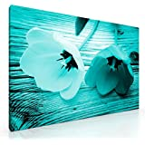 """Large Teal Tulips Flowers on wooden table Canvas Picture Floral Print. 20""""x 30"""". Ready to hang artwork. New Wall Art."""