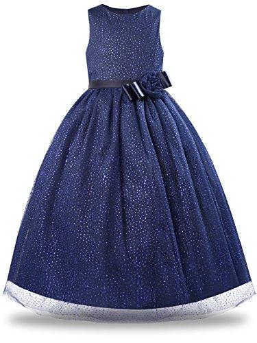 BONNY BILLY Mädchen Kleider Elegant Glitzer Pailletten Tüll Blumen Lang Festlich Hochzeit Party Prinzessin Kleid 7-8 Jahre/122-128 Dunkelblau