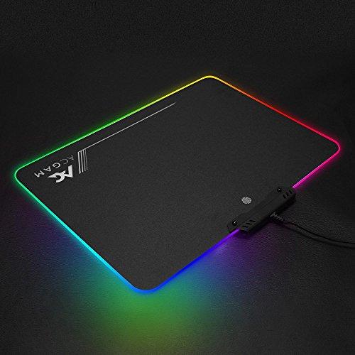 ACGAM P09 RGB Alfombrilla de ratón de juego,350mm x 250mm x 0.36mm ,iluminación LED para gaming ,Color Negro