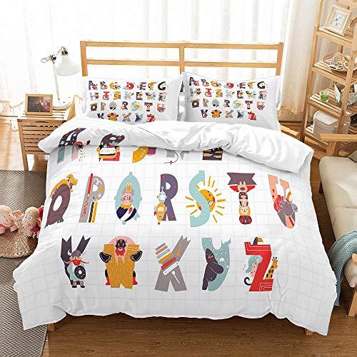 MOUMOUHOME 3 Stück Gittermuster Bettwäscheset mit Buchstabenmuster und 1 Bettbezug 2 Kissenbezug,Karikatur Charakter Tiere Sun Robot Tagesdecke Weiß,Keine Bettdecke,200x200cm -
