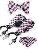 Hisdern Pr¨¹fen Streifen 6 Clips Straps & Bowtie und Einstecktuch Set Y-Form Verstellbare Zahnspange Rot-Weiss