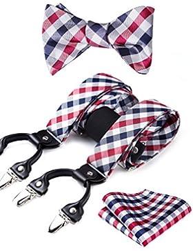 HISDERN Varios Clasico 6 Clips Suspendedor & Corbata de mono & Plaza de bolsillo Set Forma Y Tirantes ajustables