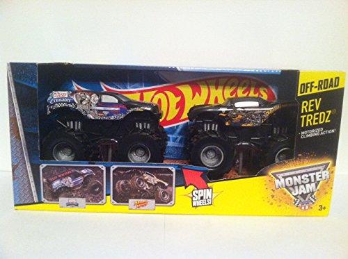 2012 HOT Wheels 1:43 Scale REV Tredz 2 Pack with Grave Diggers 30th Anniversary 4 Time Champion Chrome Grave Digger and Blue Avenger Monster Jam Trucks (Digger Grave Monster-trucks)
