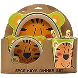 Eco Friendly Bamboo Fibre Kids Set Of 5 Pieces - Tiger Print