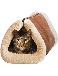 Ltuotu 2 en 1 Tube Tapetes de gato y cama Túnel de lana cama de dormir para perros de perro Cushion Mat Pyramid Auto-calentamiento Kitty Plush Nest Mat Pad Cojín
