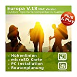 Europa V.18 MAC Version - Profi Outdoor Topo Karte kompatibel zu Garmin Navigation - Zum Wandern, Geocachen, Bergsteigen, Fahrrad, Radfahren, Radtour - MAC Version