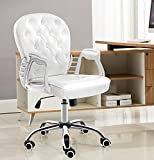 JR Knight Modern Lady Desk Chair, Home Office Swival Faux Leather Computer Chair (White) (White)