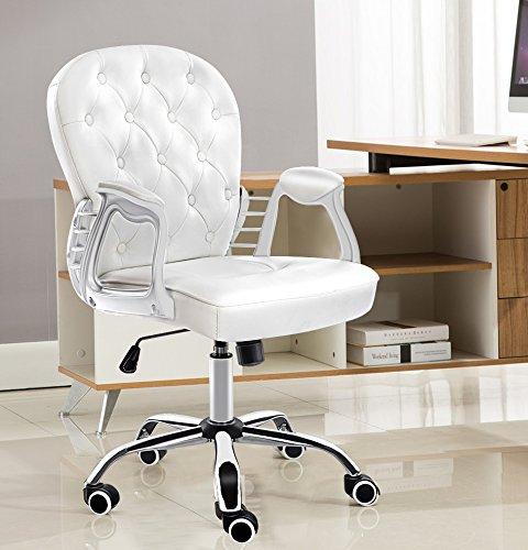 Jr knight modern lady sedia da ufficio, casa ufficio swival ecopelle sedia computer (bianco)