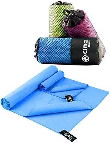 Mikrofaser Handtücher 2er Set (1x 140x70cm, 1x 40x30cm) | 2x Sport-Handtuch für Fitness und Yoga | leicht, kompakt, saugstark (Waschlappen Urlaub)