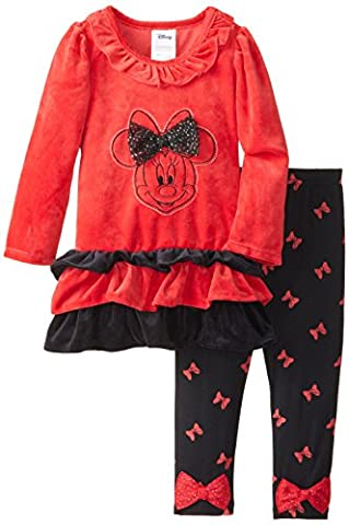 Disney Little Girls' 2 Piece Minnie Mouse Velour Legging Set, Red, 6