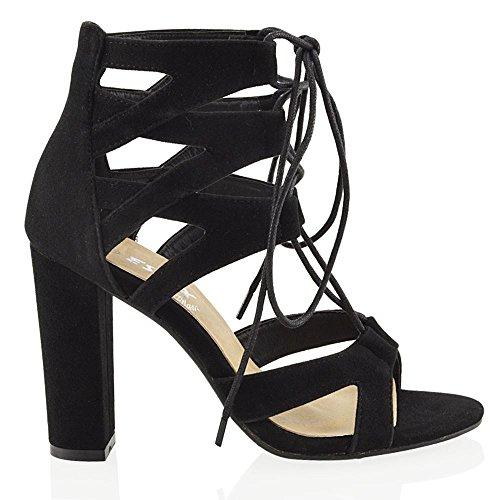 Essex Glam Sandalo Donna Sintetico Cut-out con Lacci Nero Ecopelle Scamosciata