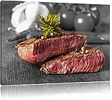 Leckeres Pfeffer Steak Medium schwarz/weiß Format: 120x80 cm auf Leinwand, XXL riesige Bilder fertig gerahmt mit Keilrahmen, Kunstdruck auf Wandbild mit Rahmen, günstiger als Gemälde oder Ölbild, kein Poster oder Plakat