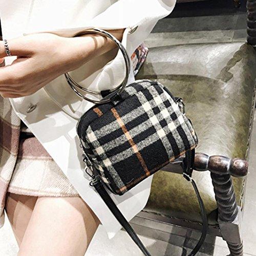 Borsa Donna Ragazza Anello di lana Borse a Mano in pelle Plaid Borse a Tracolla Zaino Borse a Spalla Borsetta Messenger Tote Bags Beauty Top Nero