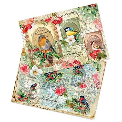 Ideen mit Herz 2 Bogen Reispapier | Edel-Decoupage-Papier | DIN A4 | 2 Verschiedene Designs | Vintage, Weihnachten und andere (Vögel X-Mas)