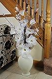 Flourish Sahne Bodenvase mit Hohe künstliche Blumen,Beige,Braun,Wohnaccessoires & Deko,Große Ornamente - Höhe1.3m