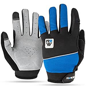 Padded Cycling Gloves, by Proworks [Touchscreen Compatible] for Road Bike, Mountain Biking, Racing & BMX - Unisex - Black & Blue - Medium