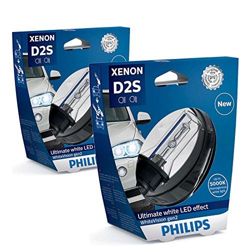 2x PHILIPS Xenon Brenner Lampe D2S WHITEVISION gen2 85V 35W P32d-2