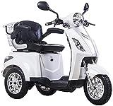 Lunex Dreirad ElektroRoller E-Scooter Elektromobil 25 km/h 500W Koffer 3 Rad Seniorenfahrzeug Seniorenmobil Elektrostuhl (Weiß)