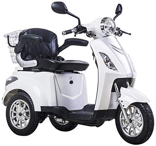 elektroroller senioren Dreirad ElektroRoller E-Scooter Elektromobil 25 km/h 900W Koffer 3 Rad Seniorenfahrzeug Seniorenmobil Elektrostuhl Weiß